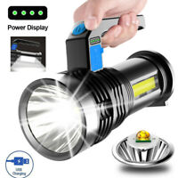 Powerful LED Flashlight USB Rechargeable Searchlight Torch Portable Camping Lamp