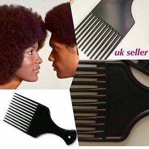 Salon flat black plastic long teeth small AFRO hair COMB detangling with handle