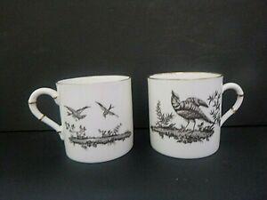VINTAGE SET 2 ROYAL WORCESTER BLACK & WHITE PHEASANT BIRDS DEMITASSE CUPS 2653