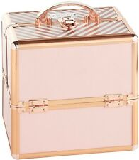 Small Blush Striped Beauty Case for Cosmetics Make Up