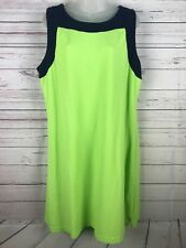 Izod Pique Golf Cotton Shift Dress Green Blue Womens XL Tennis Cotton Sundress