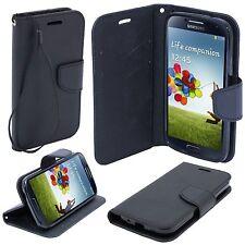 * Book Case Hülle Handy Cover Etui Tasche Leder-Imitat Samsung Galaxy S4 SCHWARZ