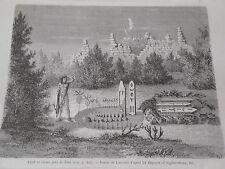 Amérique du Nord  Autel et ruines près de Zuni  Gravure 1876