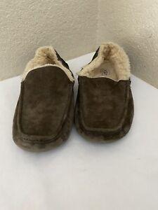UGG Australia Ascot 5775 Gray Brown Suede Sheepskin Slippers Loafers Men Sz 12