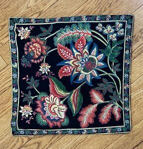 """APRIL CORNELL for DANICA Pillow Cover Multi Floral Plaid 15"""" Square"""