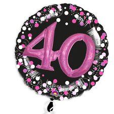 3D Effekt Glitzer-Folieballon zum 40. Geburtstag in schwarz-pink