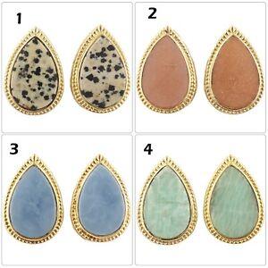 Handmade Natural Blue Opal Jasper Amazonite Moonstone Gold Plated Stud Earrings