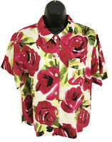 Chico's Sz 2 Top 100% Linen Womens L Floral Short Sleeve Shirt Button Front