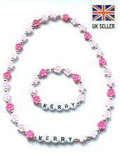 PERSONALISED BABY GIRL PINK FLOWER NECKLACE BRACELET SET BIRTHDAY CHRIS-ANY NAME