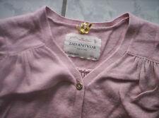 """ZARA Knitwear"" Strickjacke/Jäckchen, apricotrosa mit Spitze, neuw. Gr.86-98"