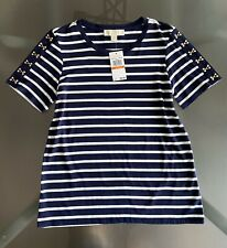 Michael Kors Striped Short Sleeve T-Shirt Size S Navy White NWT