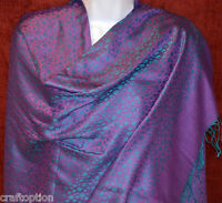 Turquoise dots purple silk blend Shawl, Stole, Wrap from India