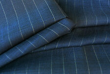 LUXURY PURE WOOL DARK BLUE GREEN STRIPE FINE TAILORING MADE IN ITALY