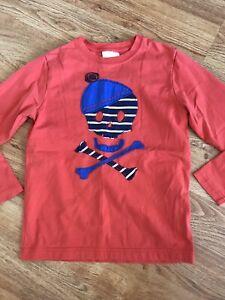 Hanna Andersson Boy's  Skull Appliqué Shirt 130  8Y Orange