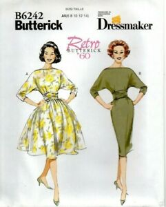 Butterick Sewing Pattern 6242 Dress 60s with Slim or Full Skirts Size 6 - 14 New
