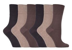 IOMI - 6 Pack Womens Wide Loose Top Non Binding Elastic Cotton Diabetic Socks