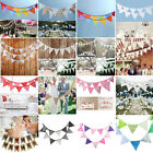3.2m 12 Flag Vintage Lace Flax Cotton Party Wedding Pennant Bunting Banner Decor