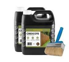 "Decking Paint x2 Dark Brown Creocote Oil Based Wood Treatment 8L Wood + Brush 4"""