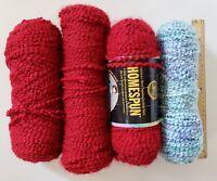 Lion Brand Homespun Yarn Candy Apple/Dark Red 790 375 3+Skeins + Windsor Blue