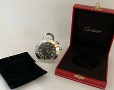 Cartier Roadster-style Desk Or Travel Clock With Sapphire Push Button & Loop