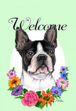 Welcome Flowers House Flag - Boston Terrier 63032