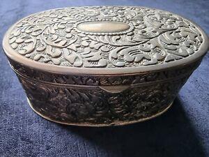 Vintage Ornate Trinket Box Red Velvet Lining. 'Decor Damask Antique Oval'
