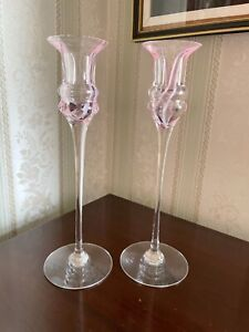 Pair of handmade  Caithness Crystal Glass Candlesticks/Holders 22cm High perfect
