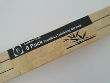 Pack of 6 Custom Craft Bamboo Drinking Straws ~ Eco-Friendly ~ New in Box