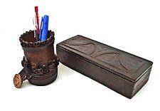 Vintage leather box Bowl for pencils Tooled ornaments Handmade Desktop organizer