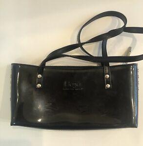 Rare Beijo Classic Shiny Black Patent Leather Satchel Purse Handbag Pop Star