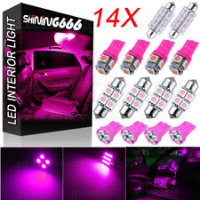 14x  Pink LED Package Interior For Dome Map License Lights T10 & 31mm Bulb Lamp