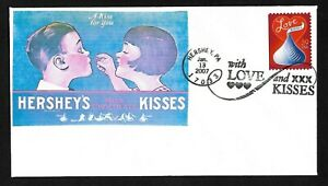 """#4122 39c Love Kisses-""""A Kiss for You"""" Stick on Cachet FDC"""