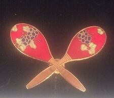 Pin Gold Plated Aim60 Free Shipping Vintage Red & Gold Mini Maracas Music