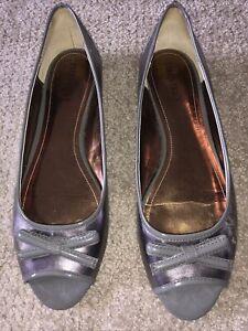 "Ellen Tracy Shoes Ballerina Flats Peep Toe ""Buffy"" 10M Sexy Pewter!"