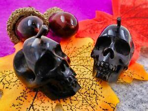 Black Skulls Stick Earrings Black Horn Hand Carved Gift For Her