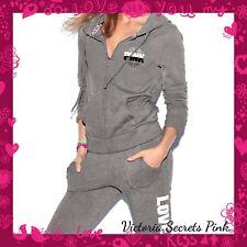 VICTORIA'S SECRET PINK Gray Full Zip Hoodie Matching Classic Sweat Pants Sz Med