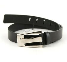 Gucci Black Leather Belt with Large Silver Buckle 75/30 308007 1000