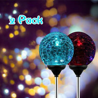 2-Pack of OxyLED Solar Globe Light Stakes Color-Changing LED Garden Light