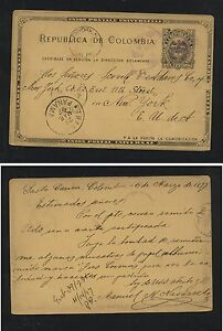 Colombia  nice postal card to  US  1897  nice markings       AT0605