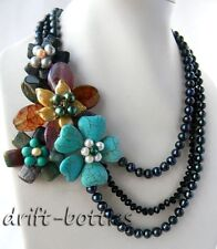 3Strands 19'' 8MM Round Black Freshwater Pearl Turquoise Agate Flower Necklace