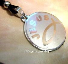 Men Stainless Steel Christian JESUS Ichthus Fish Symbol Charm Pendant Necklace