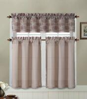 Taupe Kitchen Window Curtain Set : 2 Tier Panel, 1 Printed Valance