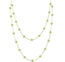 14K Yellow Gold Necklace With Round Shaped Peridot Gemstones 36 Inches