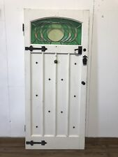 1930S LEADED STAINED GLASS WOODEN FRONT DOOR-HARDWOOD-RECLAIMED-TIMBER-STUDDED