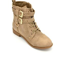 Top Moda Womens Lace Up Buckle Mid Calf Combat Boots US Size 6 Khaki New