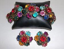 Bracelet & Earrings Faceted Stones Multi Color Prong Set Filigree Gold 1940's