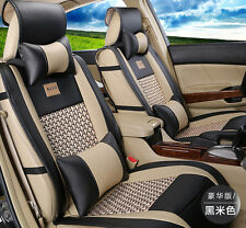 11pcs PU leather Car Seat Cover 5 Seat Universal For All Car Black&Beige