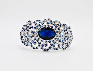 CUFF BANGLE BLUE SAPPHIRE SYN SILVER 18K WHITE GOLD FILLED GP BRIDAL WIDE HUGE 9