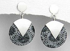 """4.2g solid Sterling Silver 1.1"""" Genuine Natural Black Sponge Coral Earrings"""