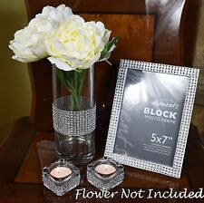 Crystal Clear Vase Diamante Tea Light Candle Holder and Photo Frame Set Home Dec